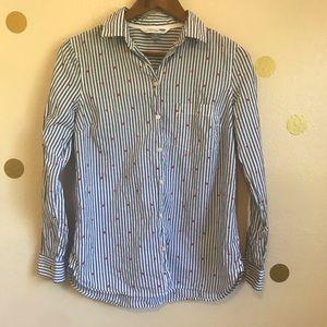Old Navy Red Heart Blue & White Stripe Shirt. SP.